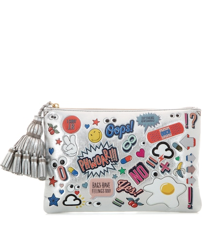 All Over Stickers Georgiana metallic leather clutch