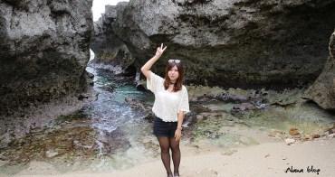 屏東小琉球》龍蝦洞。小琉球秘境壯觀珊瑚礁海岸地形,要爬吊繩才能合照。(寵物旅遊)