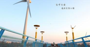 「台中大安景點」大安龜殼生態公園|大安超冷門景點海濱港城小鎮。追海邊大風車美景+觀賞夕陽好去處。