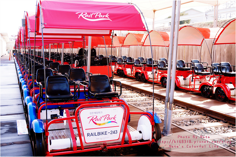 【旅遊✈KOREA】2015櫻在首爾*江村站&金裕真站‧江村Rail Park鐵路自行車。跟著RUNNING MAN,早起起來運動~欣賞不同風光的景色