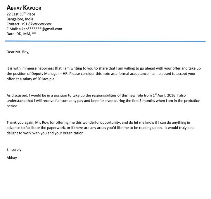 Formal Acceptance LetterInternship Acceptance Letter Google
