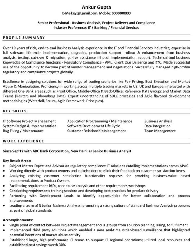 resume template business