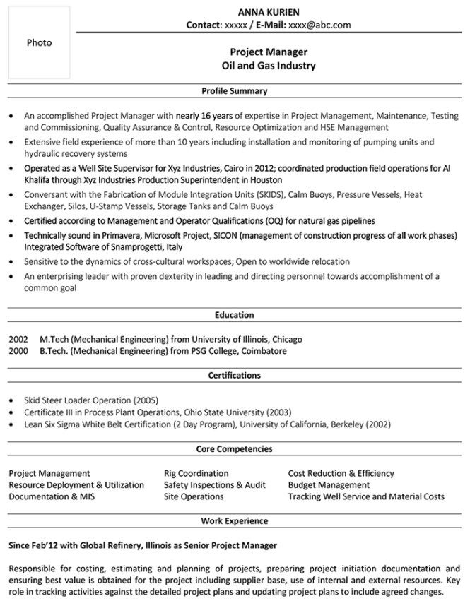 Project Manager Core Competencies Resume Examples - Resume Sample