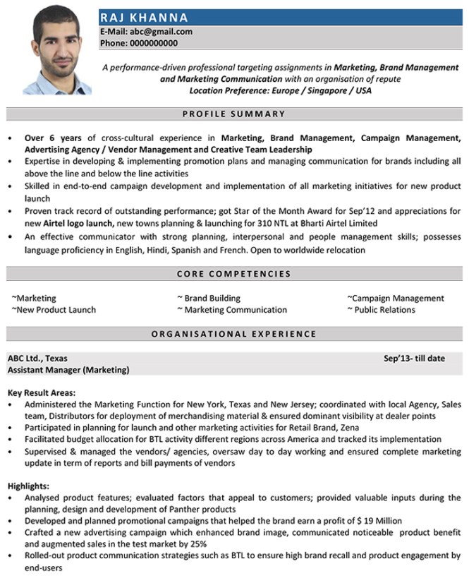 marketing manager cv format resume sample and - Cv Or Resume In Singapore