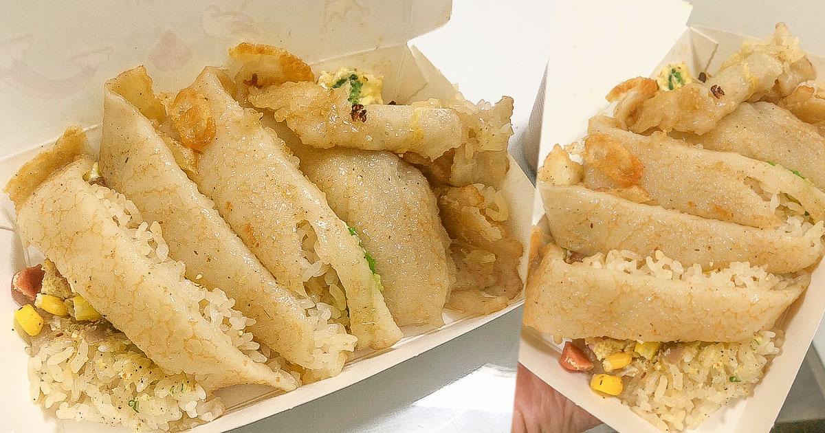 就是狂!!把飯都包入麵糊蛋餅內,就是要你吃飽 X 鳳山銅板 無名蛋餅飯.古早味飯糰