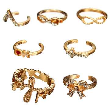 7Pcs Punk Crystal Cross Bowknot Knuckle Rings