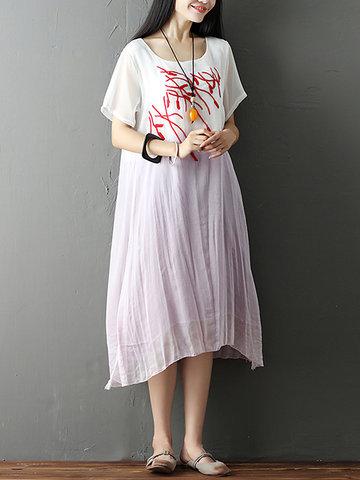 Vintage Gradient Embroidered Loose Short Sleeve O-neck Women Dress
