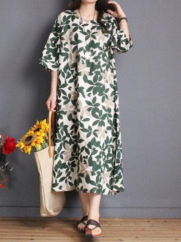 Gracila Vintage Casual Women Half Sleeve Leaf Print Dresses