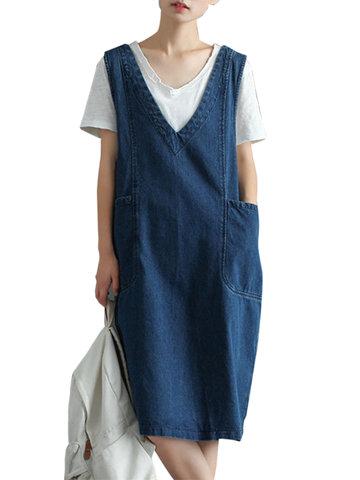 Vintage Knee Length Sleeveless Pockets Denim Dresses