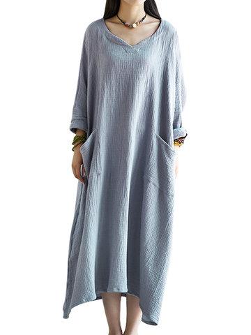 Gracila Vintage Women Long Sleeve Pocket Pure Color Long Maxi Dresses