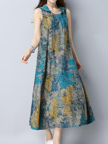 Vintage Women Sleeveless Hooded Printed Dresses