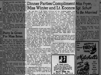 DInner for Joanne Frazer Winters and Lt. Richard Sydney Koonce (1952)