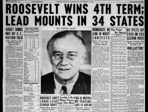 Image result for 1944 – Franklin D. Roosevelt elected for a record fourth term as President of the United States of America