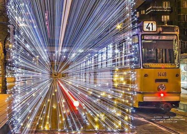 Сказочные трамваи ночного Будапешта. ФОТО