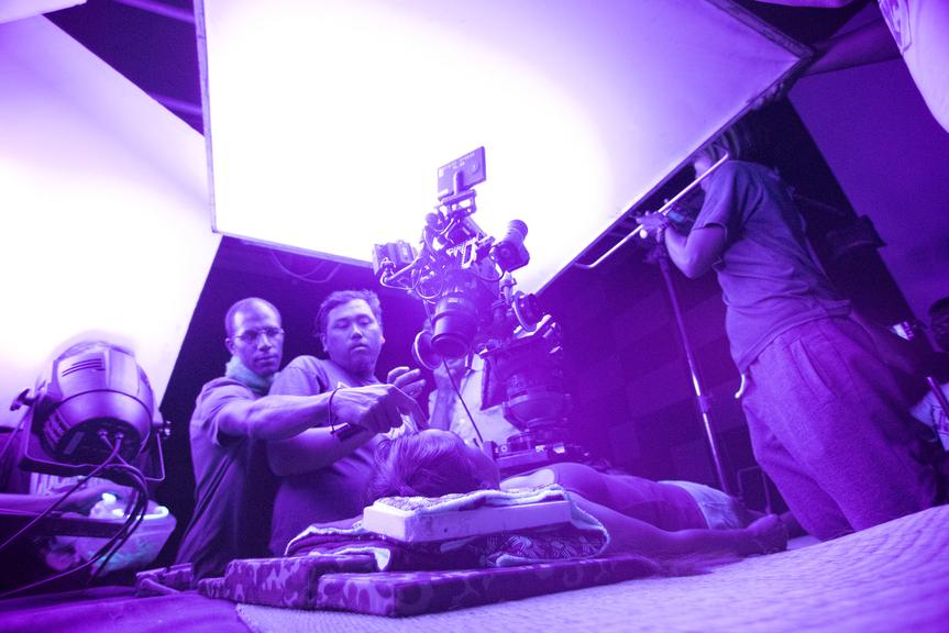 """ULTRAVIOLET"" short film set photograph, featuring Marc Johnson (Director), Kanchana Ketkaew (Actress), Chatchai Tepun (Camera Assistant), Dontr Hadjarauy (Camera Assistant), courtesy of Marc Johnson and Fulldawa Films, photo credit: Martin Reeves"
