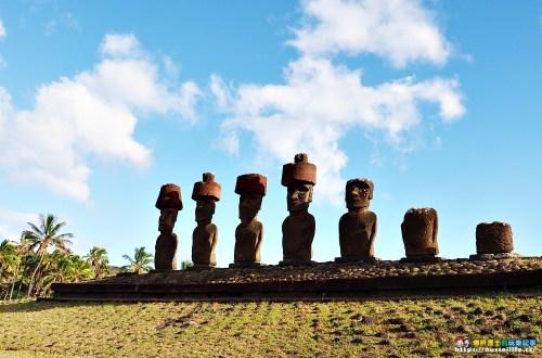 復活節島|Ahu Nau Nau、Ahu Ature Huki.藏身在Anakena美麗海灘的摩艾