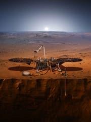 Künstlerische Darstellung des Insight-Landers auf dem Mars. (Bild: Epa / Nasa)
