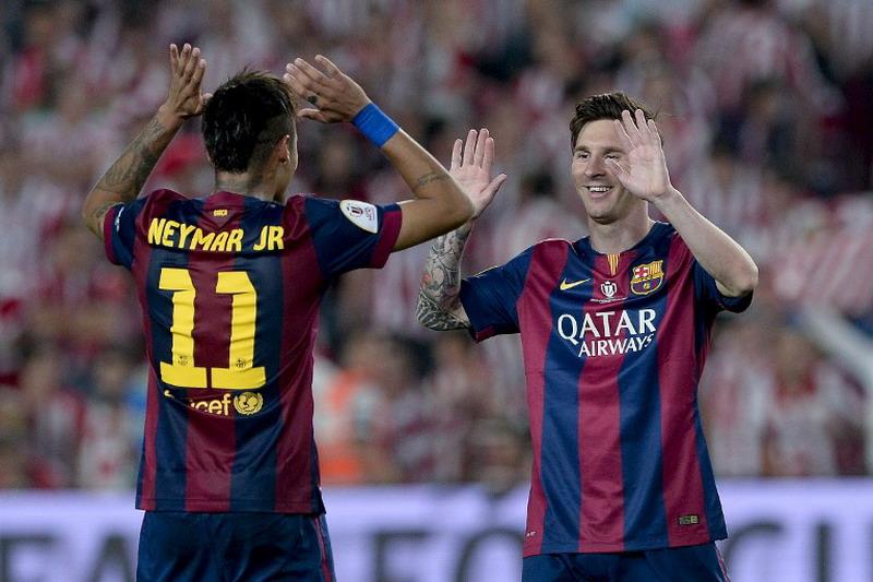 Neymar dukung Messi rebut Ballon d'Or 2015. (Foto: AFP/Josep Lago)