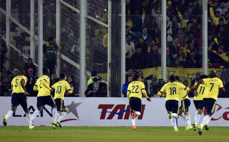 Para pemain Kolombia merayakan gol yang dicetak Jeison Murillo (foto: Agen Bola)