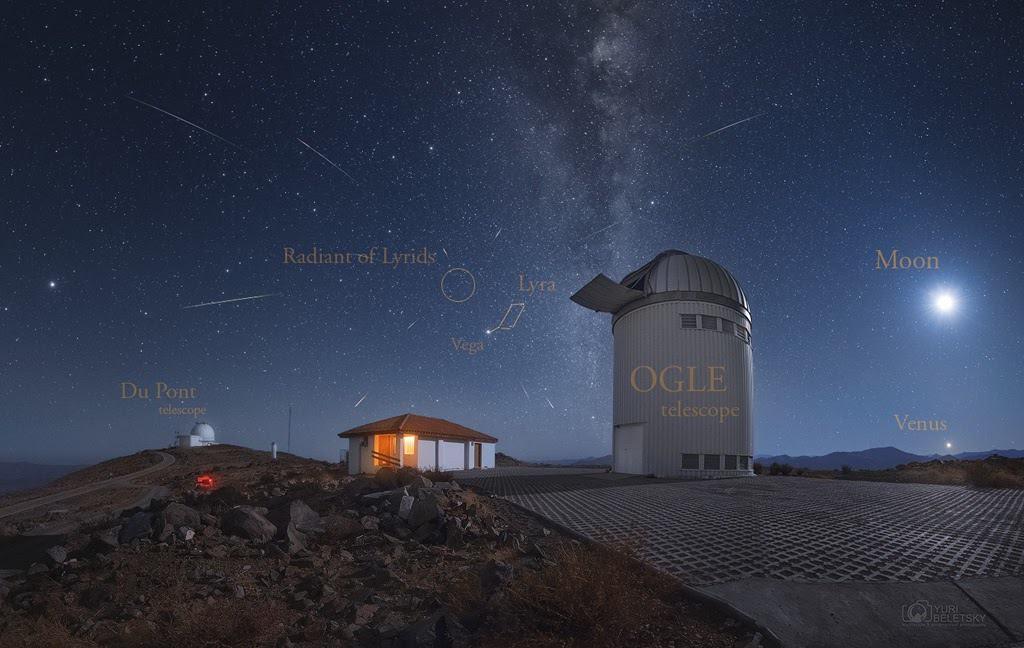 Meteoros da Líridas registrados a partir do Observatório Las Campanas, no Chile. Créditos: Yuri Beletsky