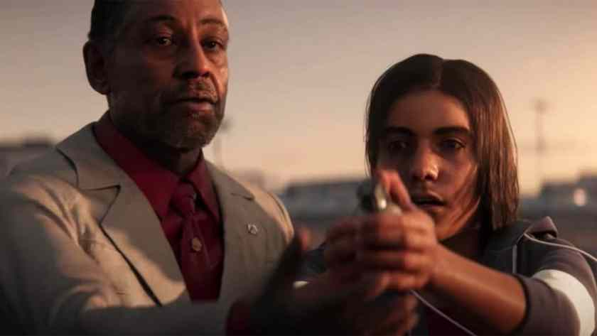 The characters of Giancarlo Esposito and Anthony Gonzalez in a scene from Far Cry 6.