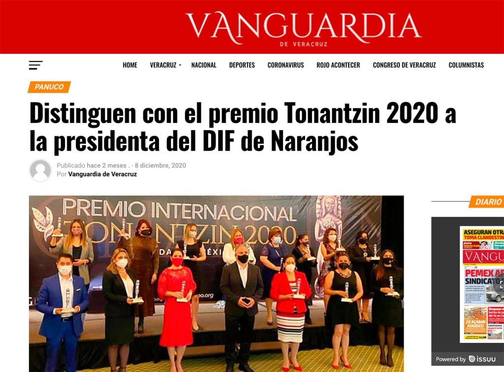 Distinguen con el Premio Internacional Tonantzin 2020 a la Presidenta del DIF de Naranjos. - Instituto Mejores Gobernantes