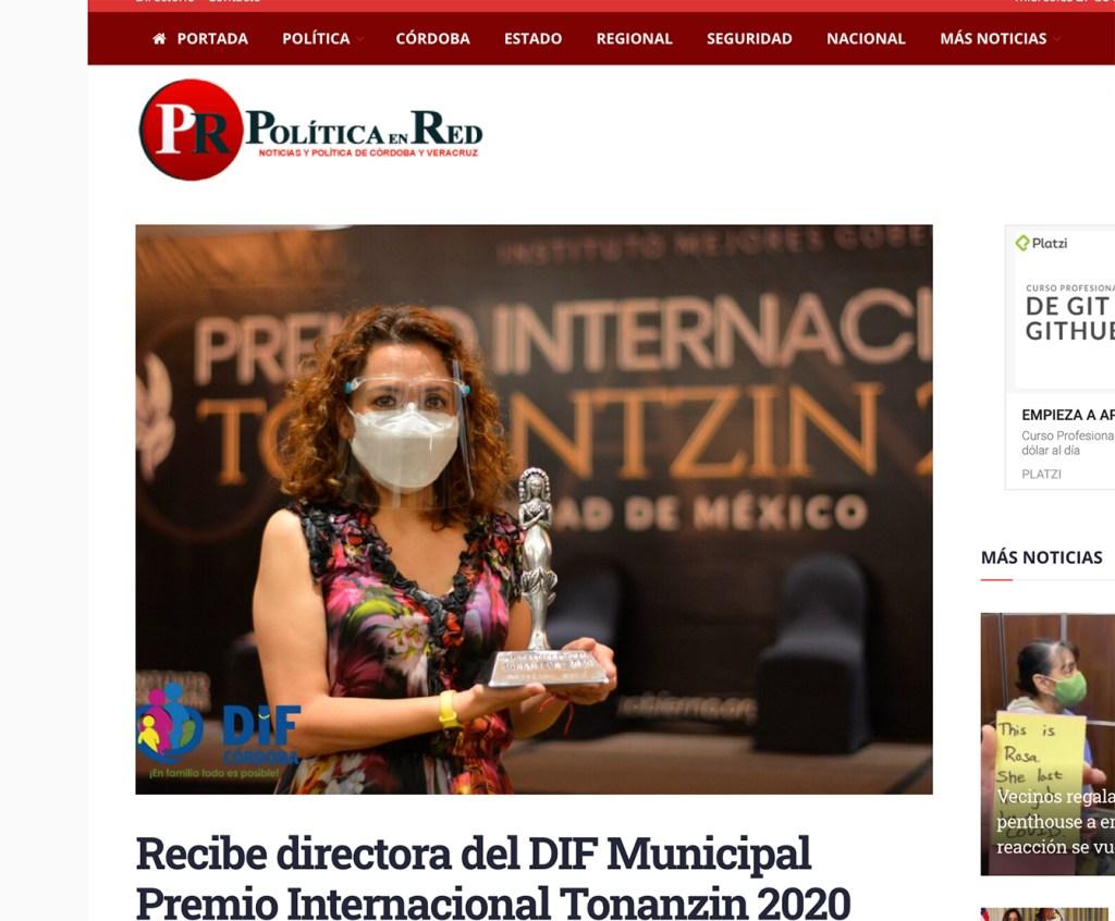 Recibe directora del DIF Municipal Premio Internacional Tonanzin 2020 - Instituto Mejores Gobernantes