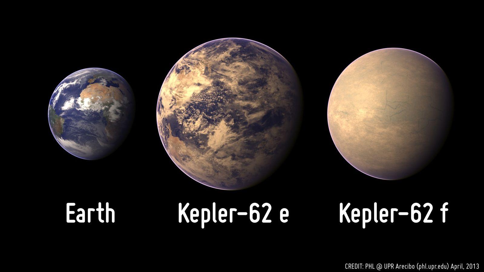 """Rappresentazione artistica delle dimensioni comparative della Terra e di Kepler-62e e Kepler-62f. <span class=""""di"""">Cortesia: Planetery Habitability Laboratory</span>"""
