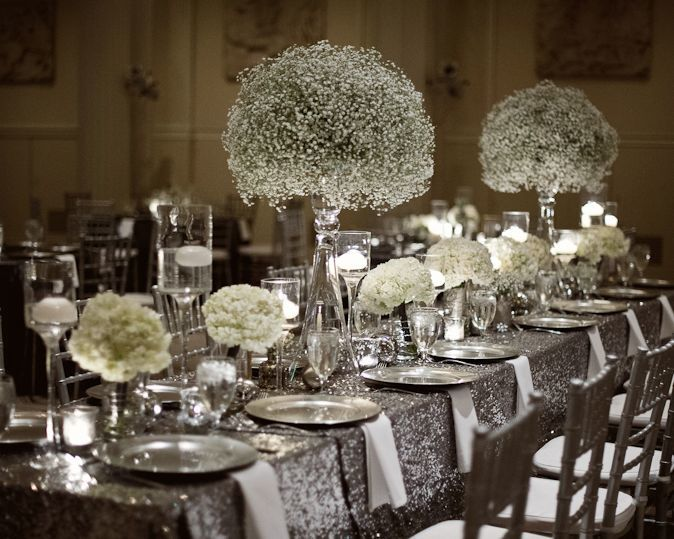 decoration table mariage argent