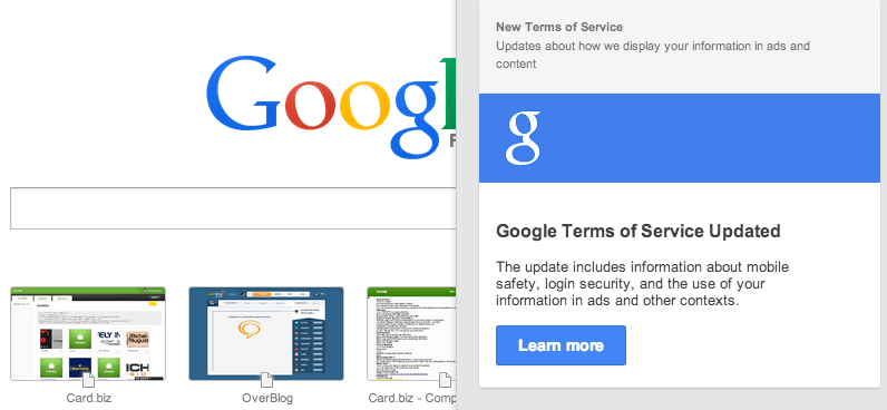 Google : changement de CGU [+theworld]