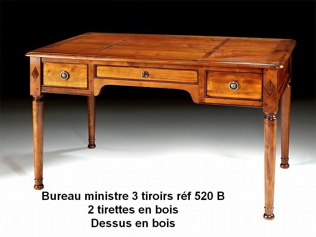 bureau ministre 3 tiroirs en merisier massif a prix fabriquant