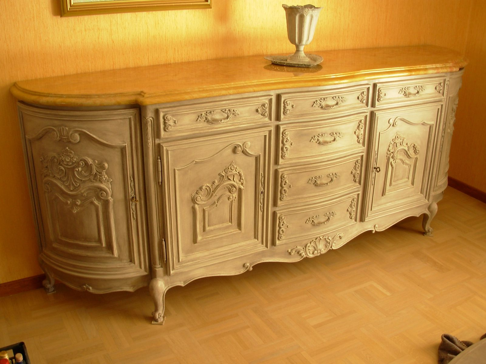 Buffet Louis XV Moderne Merisier Peint Patin Gris