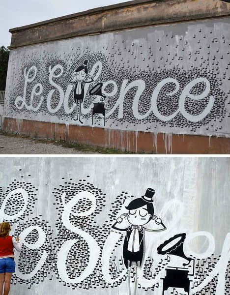 "Using street art to make a statement has been done. But using hundreds, if not thousands, of musical notes? Well, that's a new one. Milan-based street artist Eme forms the phrase ""Le Silence"" using white space. Her beautifully calming piece is located in Strasbourg, France."