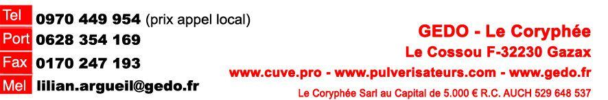Promo d'automne: Cuve fioul 1500L équipée 72L/mn
