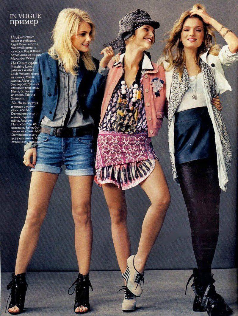Fashion Model Sasha Pivovarova, Jessica Stam, Lily Donaldson, Style inspiration, Fashion photography, Long hair
