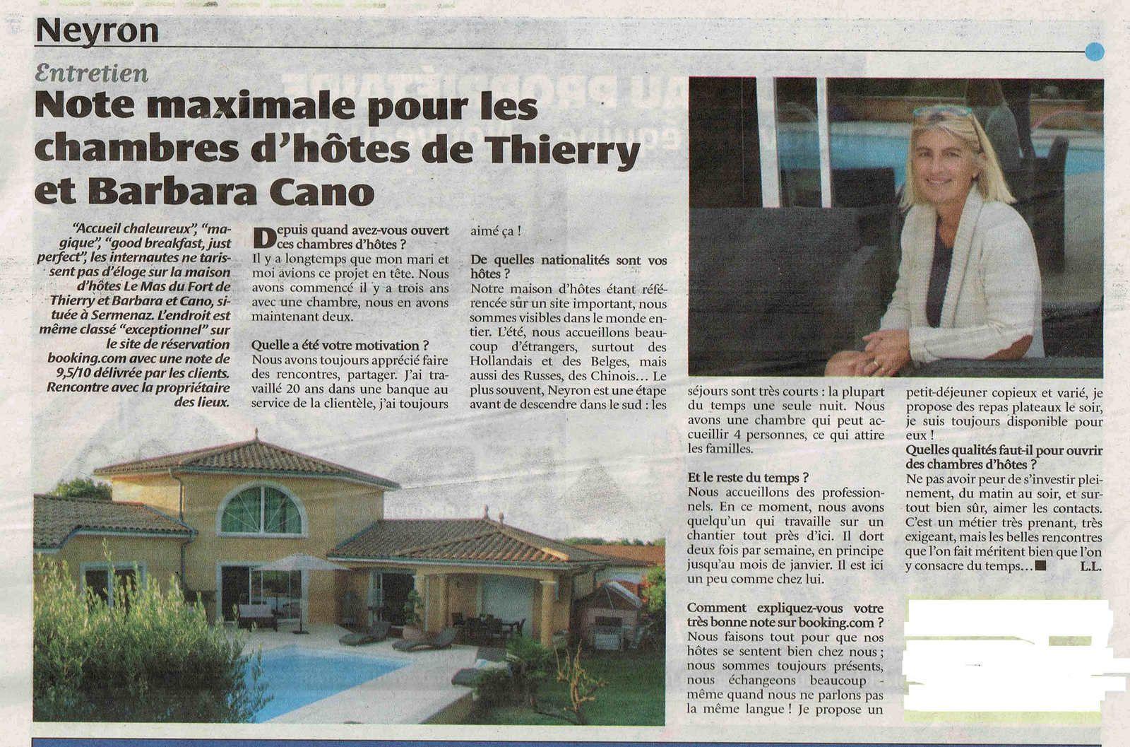 un article dans le journal sur notre maison d hotes chambres d hotes neyron lemasdufort over blog com