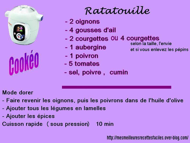 recette de la ratatouille au cookeo
