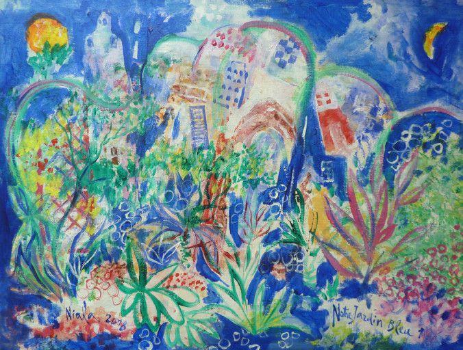 (Notre Jardin Bleu/ Niala/ 2018. Acrylique s/toile. 61 x46 )