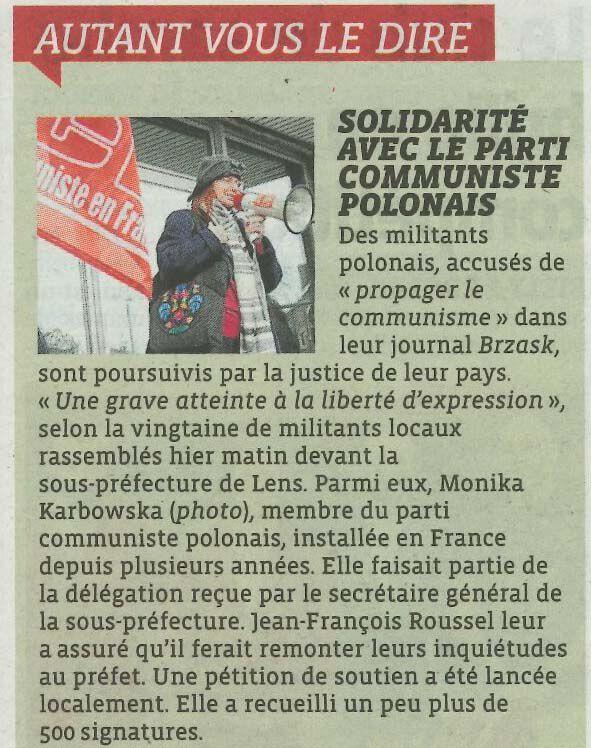 la fédération communiste du Pas-de-Calais était représentée à ce rassemblement devant la sous préfecture de Lens.