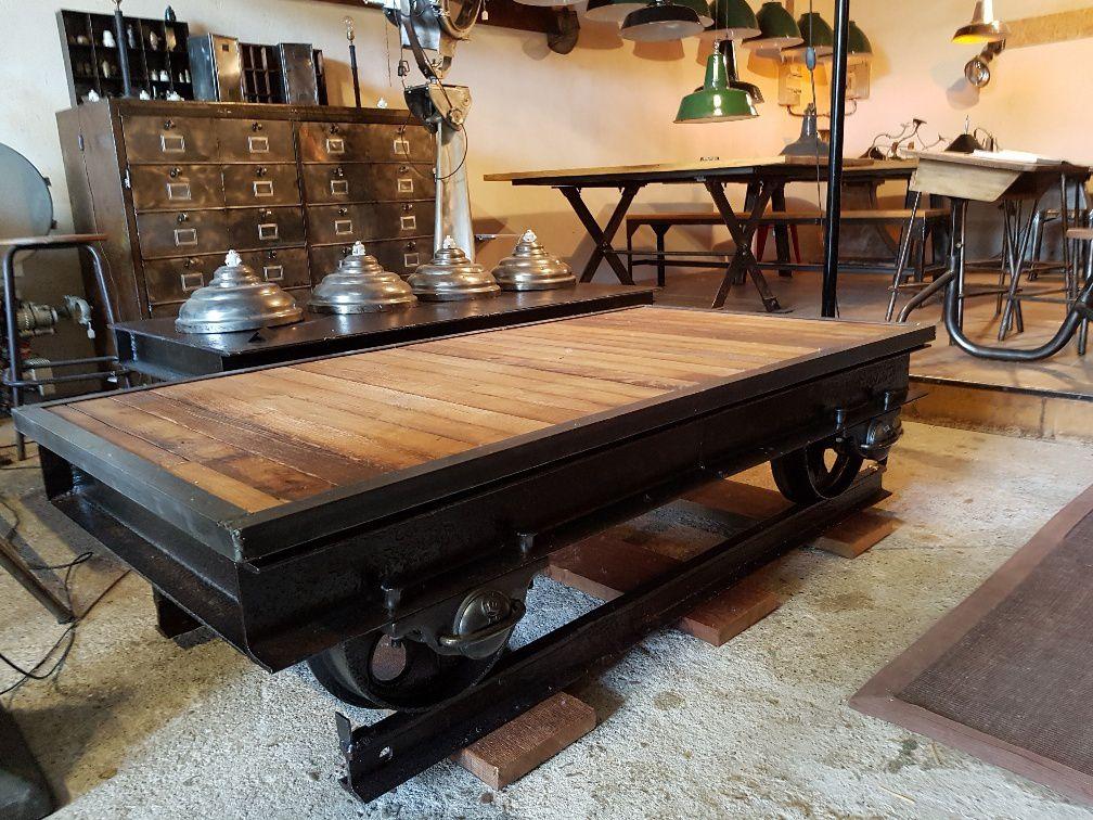 TABLE BASSE WAGONNET DESIGN INDUSTRIEL GEONANCY Design
