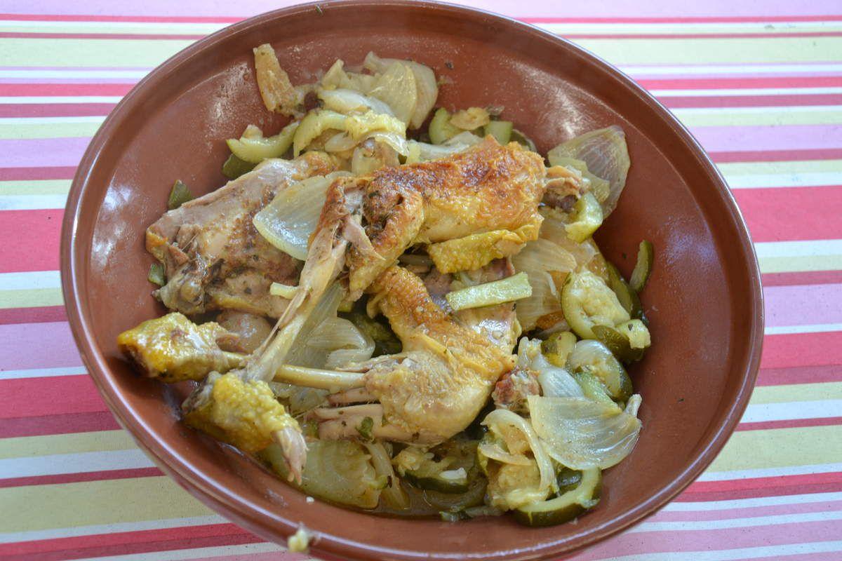 tajine de poulet et courgettes au
