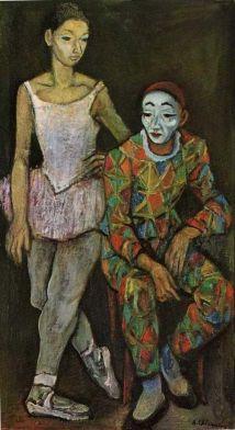 commedia dell'arte par les grands peintres Alberto Chiancone (1904-1988) Arlequin et Colombine