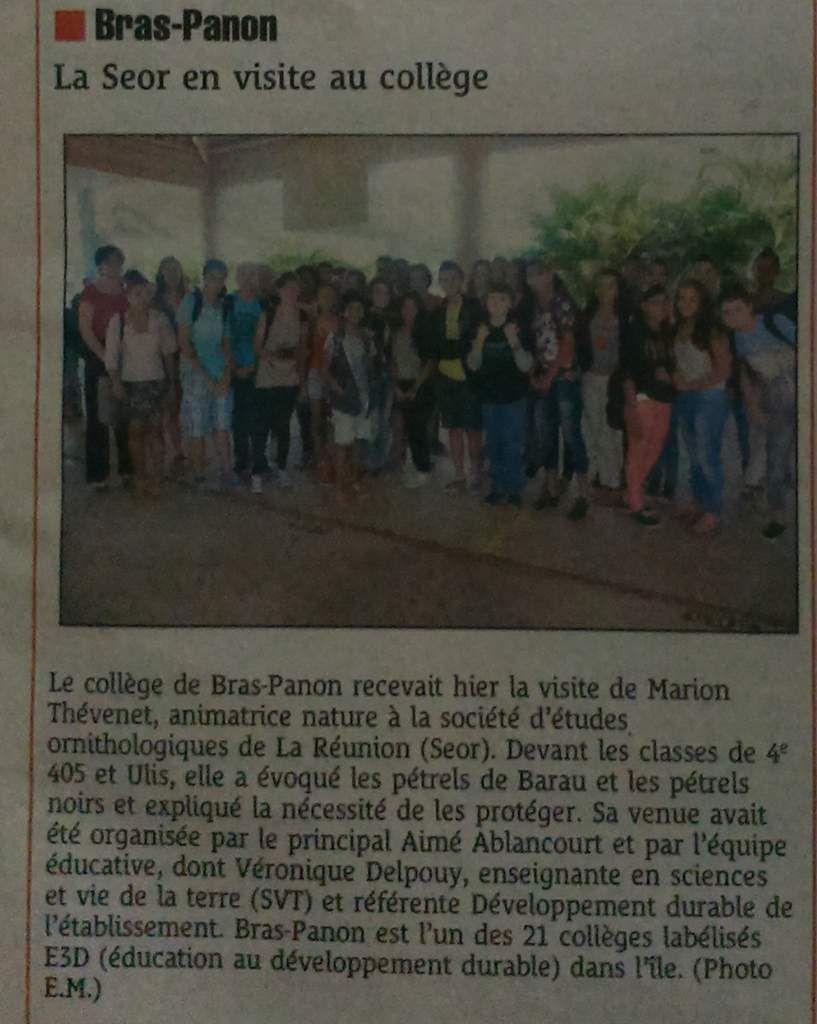 Le journal Le Quotidien était présent aussi au collège.