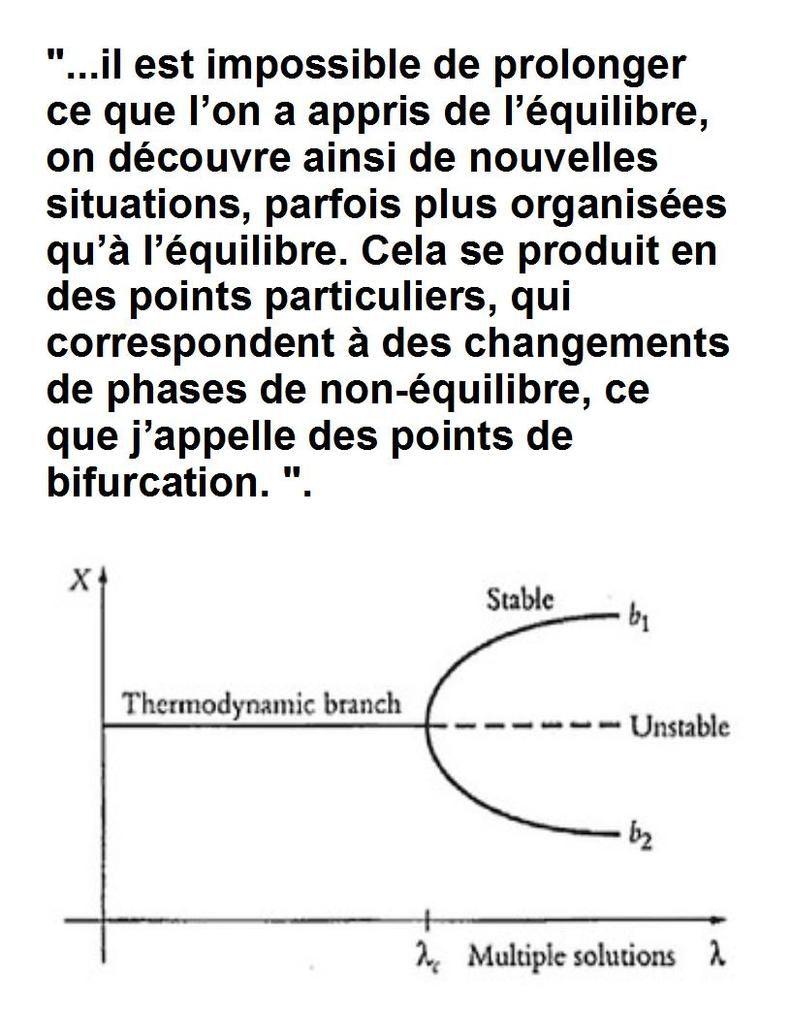 Prigogine sur la bifurcation en thermodynamique.