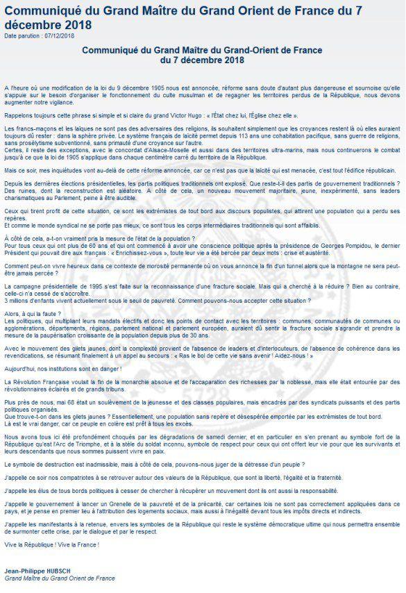 Un communiqué du Grand Maître du Grand Orient de France