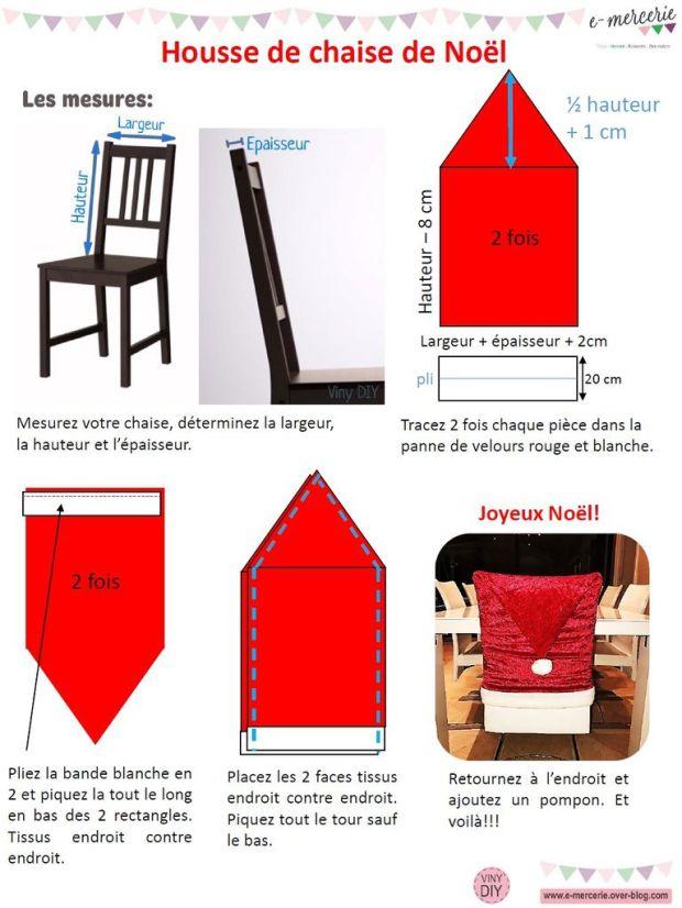 Tuto Housse de chaise Bonnet de Noël