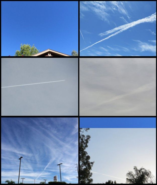 Figure 3. Les photographies du ciel au-dessus de San Diego, en Californie (USA) prises en 2014-2015. En haut à gauche : remarquez le ciel tout bleu, avec une petite quantité de brume blanche. En haut à droite: pulvérisation interrompue en plein vol, ce qui n'est pas caractéristique d'une traînée de condensation d'avion. Au milieu à gauche: des pulvérisations massives transforment le ciel bleu sans nuages, en une couverture nuageuse artificielle. Au milieu à droite: des pulvérisation massives ont changé le ciel bleu en couverture nuageuse brunâtre. En bas à gauche: de nombreuses traînées de particules différentes des traînées du trafic aérien normal. En bas à droite : noter la brume blanche provoquée par des particules de la taille du micron ou en-dessous, ce qui est inhabituel pour des traînées de condensation des avions, car les cristaux de glace disparaissent rapidement par évaporation. La bande bleue copiée à partir de l'image du haut à gauche montre le contraste. Avant le début des pulvérisations aériennes massives, le ciel de San Diego était généralement de la couleur de la bande bleue et souvent sans nuages. Le climat chaud et sec au-dessus de San Diego empêche la formation de contrails persistants, qui sont des cristaux de glace.