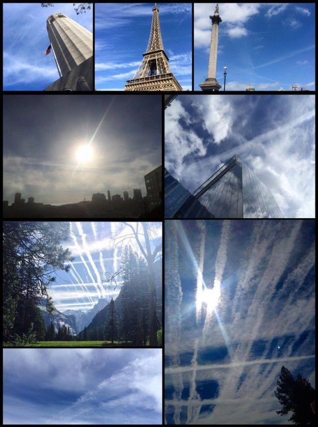 Figure 2. Images de traînées de particules de pollution délibérément produites. Photographies de Patrick Roddie, avec sa permission.