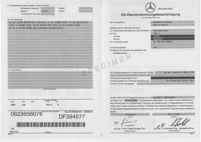 Certificat de Conformité Gratuit Mercedes CoC