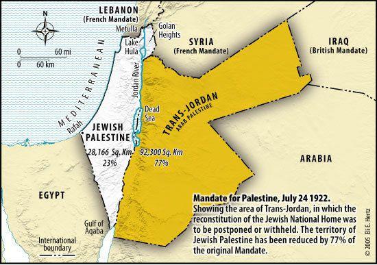 Le foyer national juif est amputé des 3/4 de son territoire pour créer un pays artificiel la Transjordanie